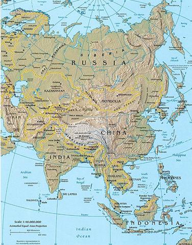 Mapa Fisico De Asia Locuraviajes Com