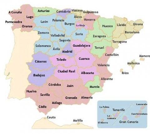 mapa político España comunidades
