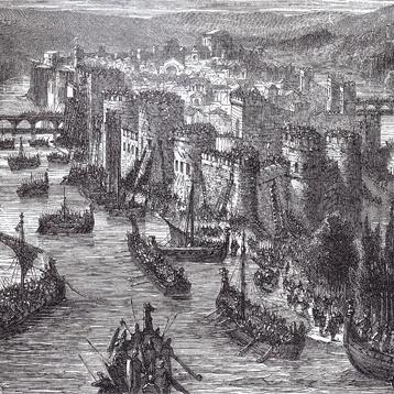 Grabado sobre las incursiones normandas del 885