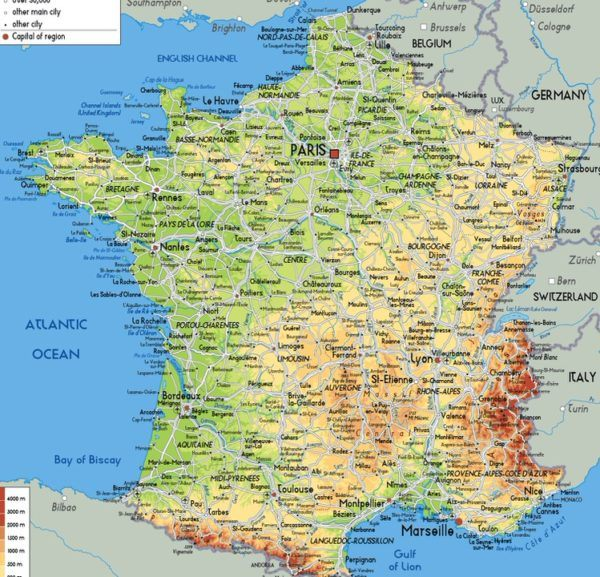 Mapa físico de Francia