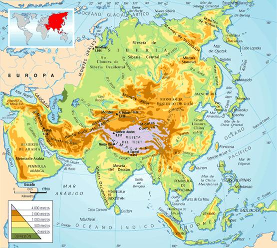 mapa europa fisico. Mapas de Asia Mapa fisico de