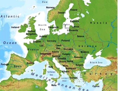 mapa de europa politico. El mapa del paisaje físico