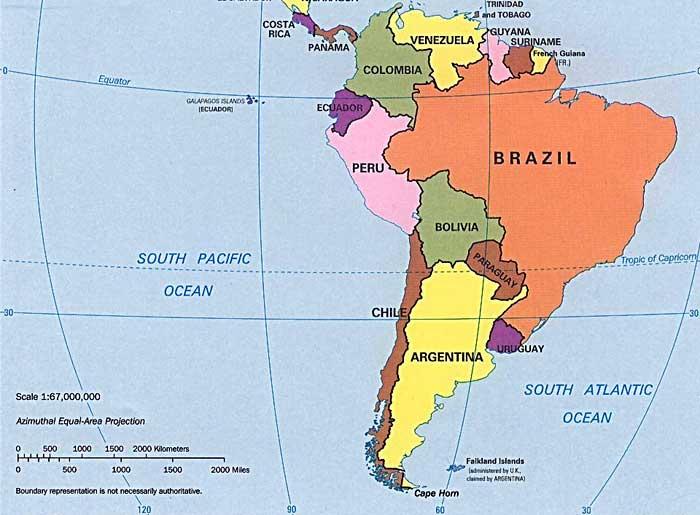 Mapa Politico America del Sur  Online Map