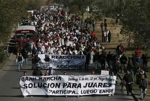 por la Paz para exigir a las autoridades de los tres niveles de gobierno un pacto con la sociedad civil para frenar la violencia en Ciudad Juárez