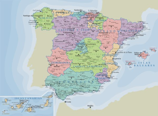 Mapa España Comunidades Autonomas Y Provincias.Mapa Politico De Espana Todas Las Comunidades Y Provincias