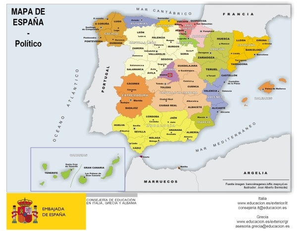 Mapa De Provincias Españolas.Mapa Politico De Espana Todas Las Comunidades Y Provincias