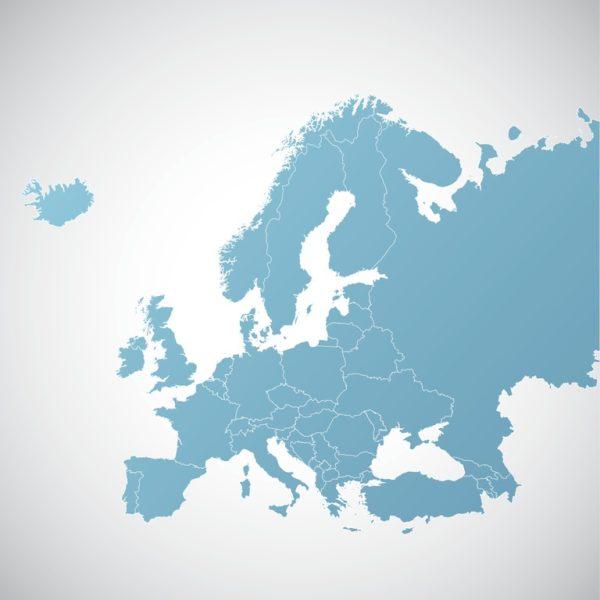 Mapa politico europa azul