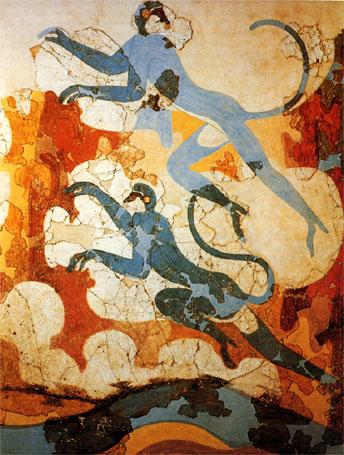 akrotiri frescos monos azules santorini