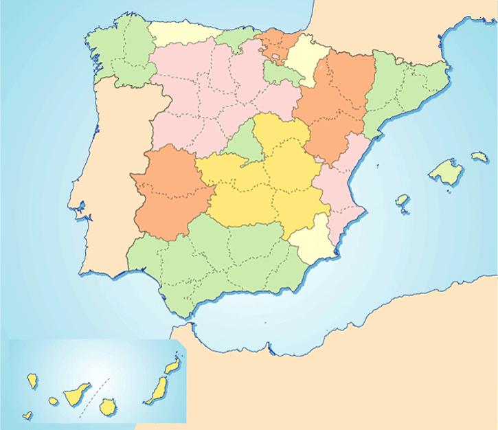 Mapa Mudo Provincias España.Mapa Politico De Espana Todas Las Comunidades Y Provincias