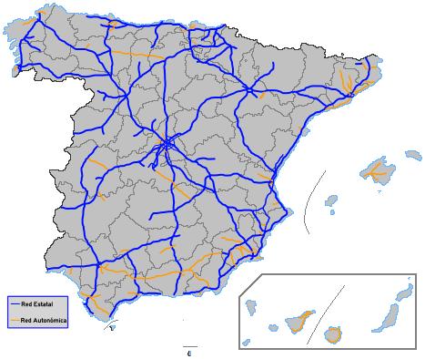 Mapa De España Carreteras.Mapa De Carreteras De Espana Rutas Y Carreteras Para Saber