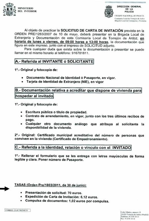Carta de invitaci n para viajar a espa a tr mites y for Ministerio interior pasaporte