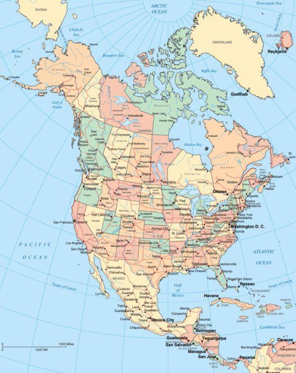Mapa político de América del Norte