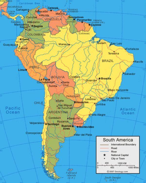 Mapa Geografico De Sudamerica.Mapa De America Del Sur Mapa Politico Y Fisico Locuraviajes Com