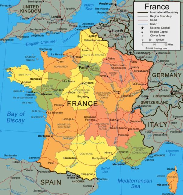 Mapa político de Francia
