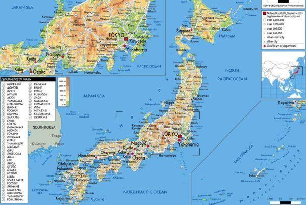 Mapa físico de Japón